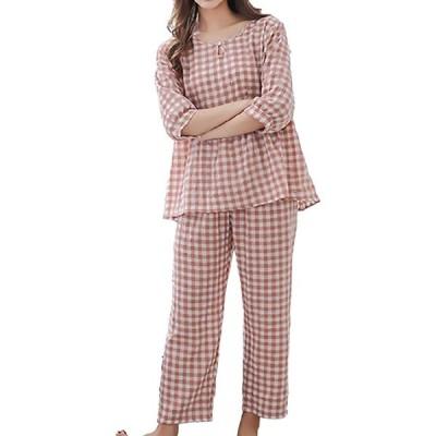 [ロカロカ] レディース パジャマ 上下 セット 上下セット 半袖 五分袖 チェック柄 チェック ギンガムチェック ルームウェア 寝間着 部屋着 へや