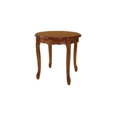 ds-2333675 アンティーク調 猫脚 ラウンドテーブル/サイドテーブル 【ブラウン】 円形 直径60×高さ55cm 木製 組立品 〔リビング〕【代引不可】