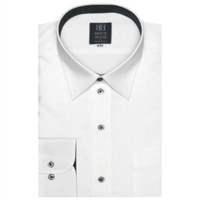 ブリックハウス(BRICKHOUSE)/形態安定 ノーアイロン 長袖ワイシャツ レギュラー 白×ストライプ織柄 標準体