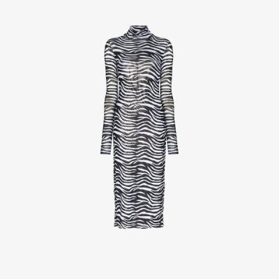 スタウド Staud レディース パーティードレス ワンピース・ドレス sheer zebra print midi dress black