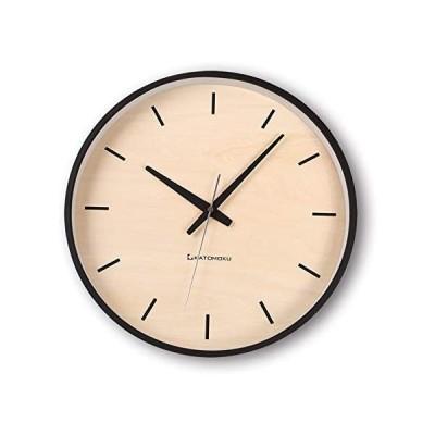 KATOMOKU plywood wall clock ブラック 電波時計 連続秒針 km-50BRC φ304mm (黒 Lサイズ)