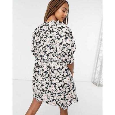 エイソス レディース ワンピース トップス ASOS DESIGN trapeze mini smock dress with pin tucks in daisy floral print Black base daisy