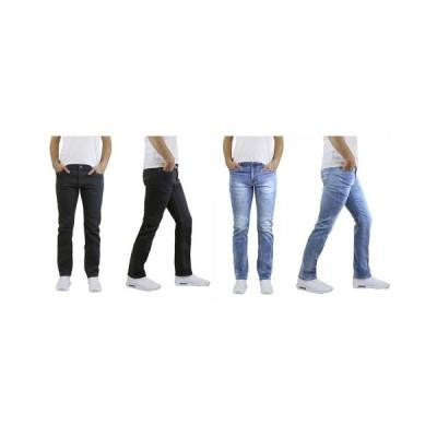 ギャラクシーバイハルビック デニムパンツ ボトムス メンズ Men's 2-Packs Straight Leg Washed Jeans with Stretch Black/Light Wash