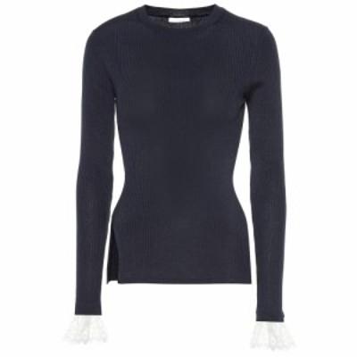 クロエ Chloe レディース ニット・セーター トップス Organza-trimmed ribbed-knit sweater Stormy Night