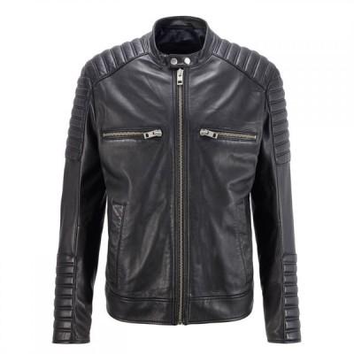 ヒューゴ ボス Boss メンズ レザージャケット アウター Jakoby Leather Jacket Black