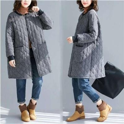 トレンチコート レディース 中綿 ロングコート ジャケット 40代 チェック柄ふんわり キルティングコート ボリューム 大きいサイズ 大人 ゆったり
