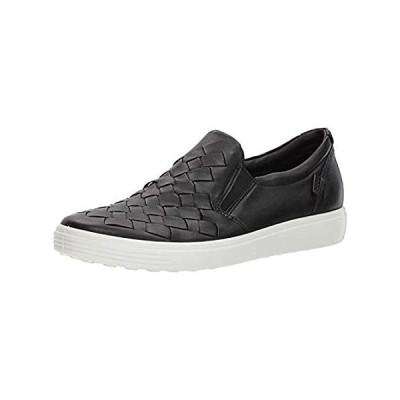 ECCO womens Soft 7 Woven Slip Fashion Sneaker, Black, 9-9.5 US