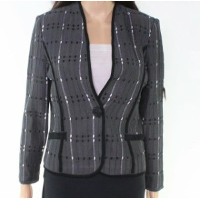 Ming Wang ミンウォン ファッション 衣類 Ming Wang Womens Gray PXS Petite Textured Knit Single Button Jacket
