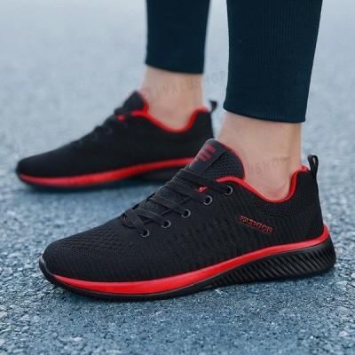 スニーカー メンズ ランニングシューズ スポーツシューズ 運動靴 カジュアル ライン メッシュ シンプル 大きいサイズあり アウトドア