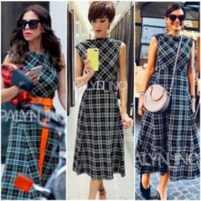 ファッション ドレス RARE_NWT ZARA AW18 SS19 GREEN CHECKERED MIDI FLOWING DRESS 7827/639_XS L