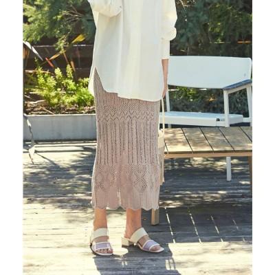 ユアーズ ur's 透かし編みニットナロースカート (ベージュ)