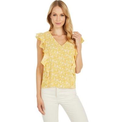 ビービーダコタ BB Dakota レディース ブラウス・シャツ トップス All The Frills 'Shadow Floral' Print Bubble Crepe Top Lemon Drop