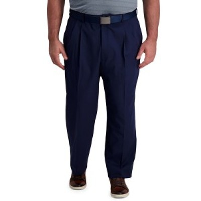 ハガール メンズ カジュアルパンツ ボトムス Big & Tall Cool Right Performance Flex Classic Fit Pleated Pant Navy