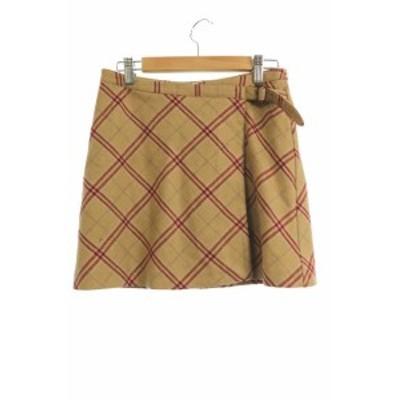 【中古】クーカイ KOOKAI スカート 台形 ミニ チェック ウール混 36 ベージュ /YS6 レディース