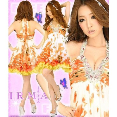 ドレス ミニ ドレス IRMA ドレス キャバ ドレス 花柄シフォンペチコート入りミニドレス イルマ ドレス agehaドレス パーティードレス