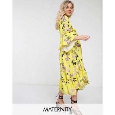 クイーンビー レディース ワンピース トップス Queen Bee Maternity wrap front fluted sleeve midi dress in contrast floral Multi