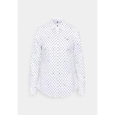 トミー ヒルフィガー シャツ レディース トップス SLIM FIT - Button-down blouse - optic white