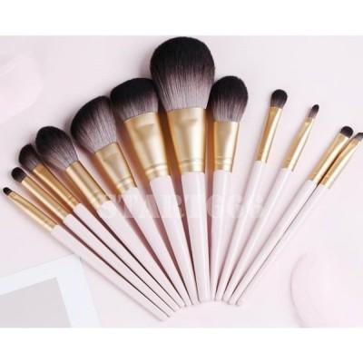 メイクブラシ セット コスメブラシ 化粧ブラシ 12本セット 化粧筆 フェイスブラシ 柔らかい ピンク、ホワイト