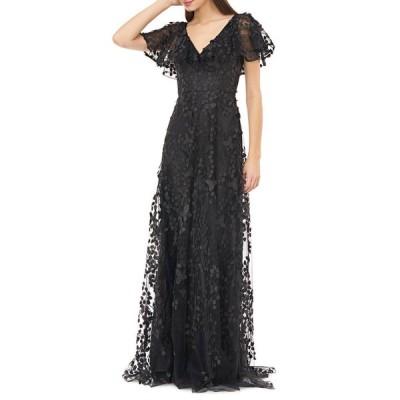 カルメンマークバルボ レディース ワンピース トップス Flutter-Sleeve Ruffle-Neck Gown w/ 3D Embellishments