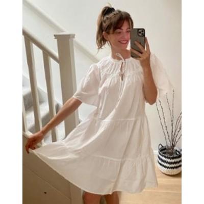 トップショップ レディース ワンピース トップス Topshop poplin smock mini dress in white White