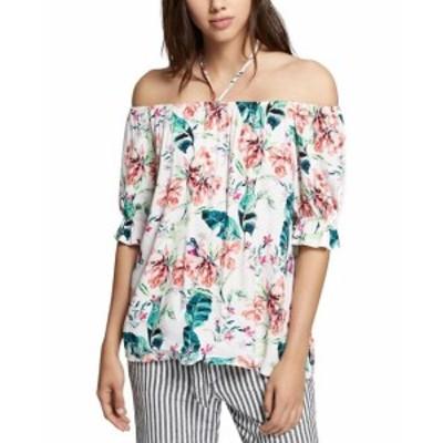 Sanctuary サンクチュアリ ファッション トップス Sanctuary NEW White Womens Size XL Floral Off-Shoulder Halter Blouse