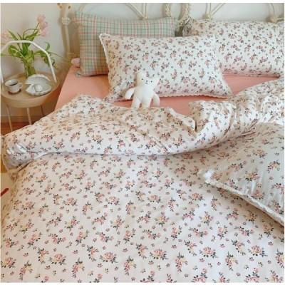 北欧調柄 掛け布団カバー 4点セット 敷き布団カバー 綿100% 植物柄|掛け布団カバー 1点|シーツ 1点|枕カバー 2点|a61