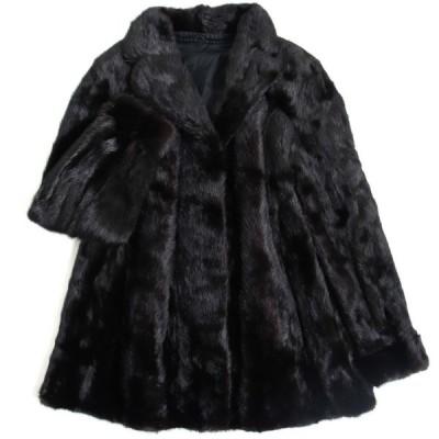毛並み極美品▼SAGA MINK サガミンク 逆毛 本毛皮コート ダークブラウン 毛質艶やか・柔らか◎