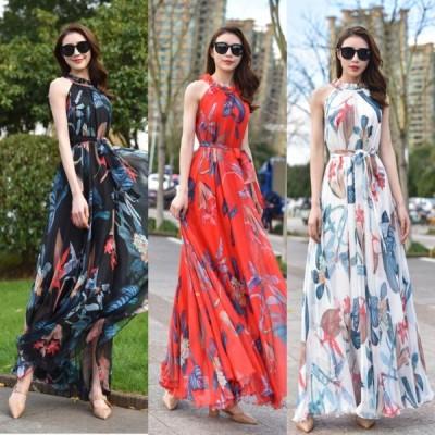 春夏 ドレス ロングドレス サマードレス ワンピース マキシ丈 ノースリーブ ホルターネック 花柄 シフォン