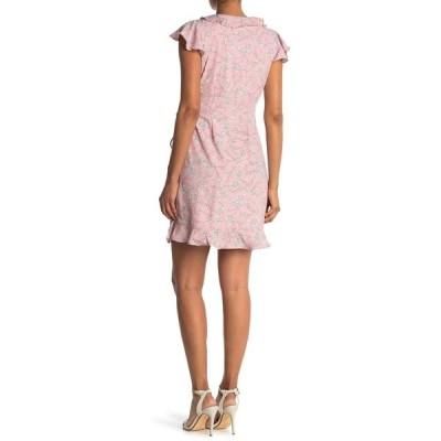 コレクティブコンセプツ レディース ワンピース トップス Flutter Sleeve Ruffle Wrap Dress PINK