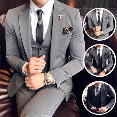 メンズ スーツ セットアップ 紳士 結婚式 3ピース ドレスコートフォーマル スリーピース  ビジネス スリム  出張 シングル 3色 春秋