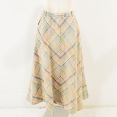 70年代 チェック柄 ウール ロング Aラインスカート M /wav9685