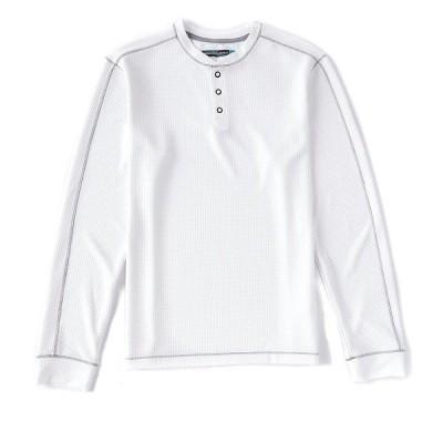 ランドツリーアンドヨーク メンズ Tシャツ トップス Performance Long-Sleeve Waffle Henley White
