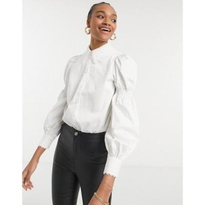 テッドベーカー レディース シャツ トップス Ted Baker Briona cotton shirt with puff sleeve and lace trim in white White