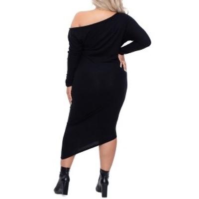 カーヴィー センス レディース ワンピース トップス Asymmetrical Sweater Dress BLACK