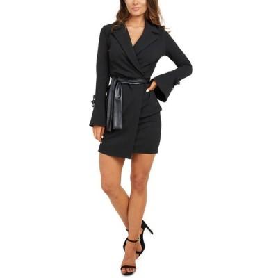 クイズ レディース ワンピース トップス Faux-Leather Tie Jacket Dress