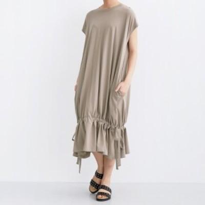 【merlot メルロー】フレンチスリーブ 裾ドロスト ワンピース 半袖 フリーサイズ ふんわりシルエット