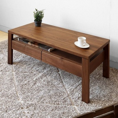 ローテーブル センターテーブル 収納棚付きリビングテーブル 受注生産商品 オーダーテーブル ウォールナット材 ウォールナット無垢材
