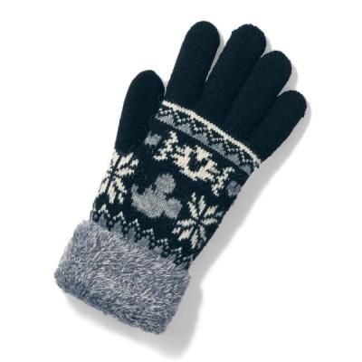 ディズニー あったかふわふわ手袋(選べるキャラクター) ミッキーマウス(ブラック)