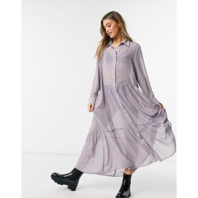 モンキ Monki レディース ワンピース シャツワンピース ワンピース・ドレス Collina Maxi Shirt Dress In Lilac ライラック