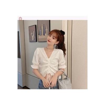 【送料無料】引きひも 襟 半袖 シフォンシャツ 女 夏 韓国風 デザイン 感 小 キ | 364331_A63333-5146902