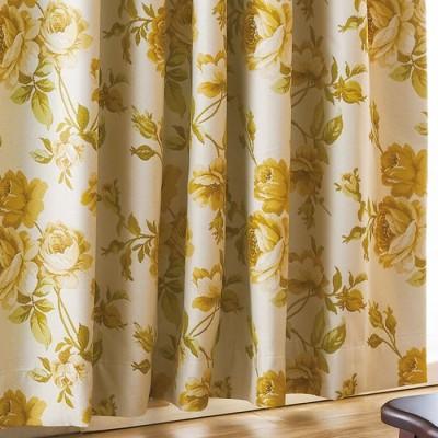 ベルーナインテリア 幸せの風水フラワー多機能ジャカード織カーテン イエロー イエロー クッションカバー レディース