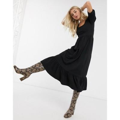 オンリー レディース ワンピース トップス Only midi dress with puff sleeves in black