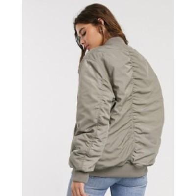 エイソス レディース ジャケット・ブルゾン アウター ASOS DESIGN oversized twill bomber jacket in khaki Khaki