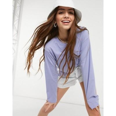 モンキ Monki レディース 長袖Tシャツ トップス Kia organic cotton long sleeve t-shirt in blue ブルー