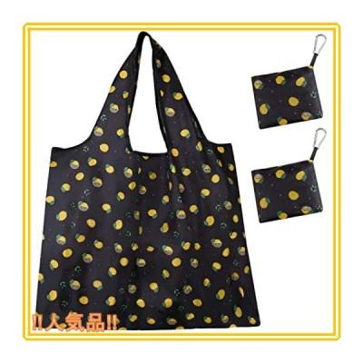 エコバッグ 折りたたみ 防水 買い物袋 コンビニバッグ 大容量 丈夫 耐荷重25kg (2個入り カラビナ付き)