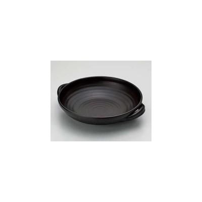 和食器 ス408-027 黒(超耐熱)8号手付パエリアパン