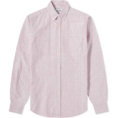 ポーチュギースフランネル Portuguese Flannel メンズ シャツ ワイシャツ トップス Belavista Stripe Button Down Oxford Shirt Red
