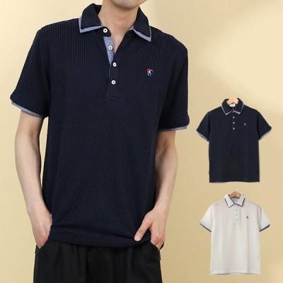 ポロシャツカットソー半袖おしゃれゴルフスポーツ 無地ワンポイント刺繍2枚衿サッカー生地ユニセックストップスメンズ