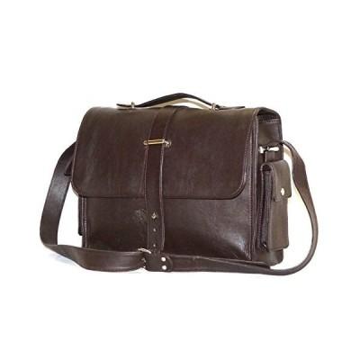 World of Leather ITALIAN GENUINE LEATHER LAPTOP HAND BAG CROSS BODY (Dark Brown)【並行輸入品】