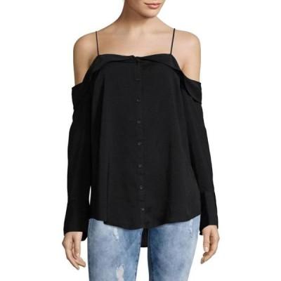レディース 衣類 トップス FREE PEOPLE Womens Black Button Down Long Sleeve Off Shoulder Top Size: XS ブラウス&シャツ